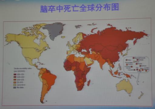 从脑卒中死亡全球分布图中,我们可以看出中国是全世界脑卒中死亡最高